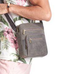 WILD Kožená pánská crossbody taška tmavě šedá 21x25x5 cm E-batoh