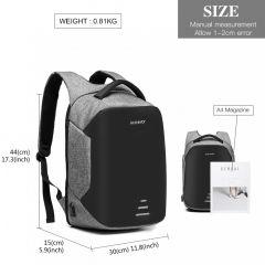 KONO černo-šedý reflexní elegantní batoh s USB portem UNISEX E-batoh