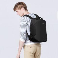 KONO černý reflexní elegantní batoh s USB portem UNISEX E-batoh