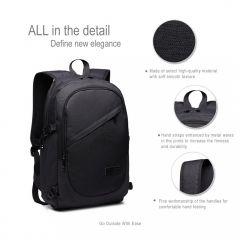KONO černý moderní elegantní batoh s USB portem UNISEX E-batoh