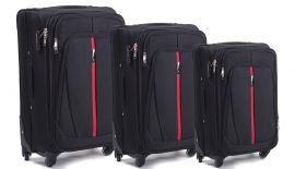 Sada 3 textilních kufrů WINGS 1706 4W BLACK L/M/S