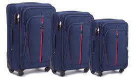 Sada 3 textilních kufrů WINGS 1706 4W BLUE L/M/S