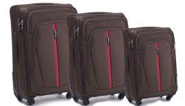 Sada 3 textilních kufrů WINGS 1706 4W COFFEE L/M/S