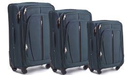 Sada 3 textilních kufrů WINGS 1706 4W DOUBLE GREEN L/M/S