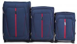 Sada 3 textilních kufrů WINGS 1706 BLUE L/M/S