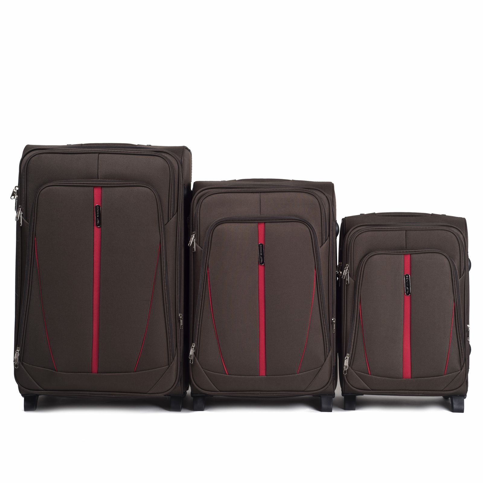 Sada 3 textilních kufrů WINGS 1706 COFFEE L/M/S