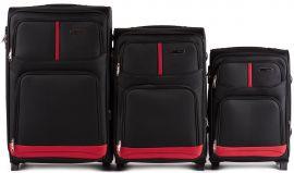 Sada 3 textilních kufrů WINGS 206 BLACK L/M/S
