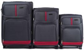 Sada 3 textilních kufrů WINGS 206 GREY L/M/S