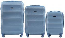 Cestovní kufry sada WINGS 203 ABS SILVER BLUE L,M,S