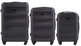 Cestovní kufry sada WINGS 203 ABS DARK GREY L,M,S