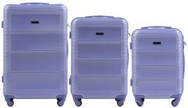 Cestovní kufry sada WINGS 203 ABS LIGHT PURPLE L,M,S