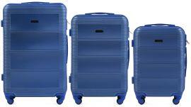 Cestovní kufry sada WINGS 203 ABS MIDDLE BLUE L,M,S
