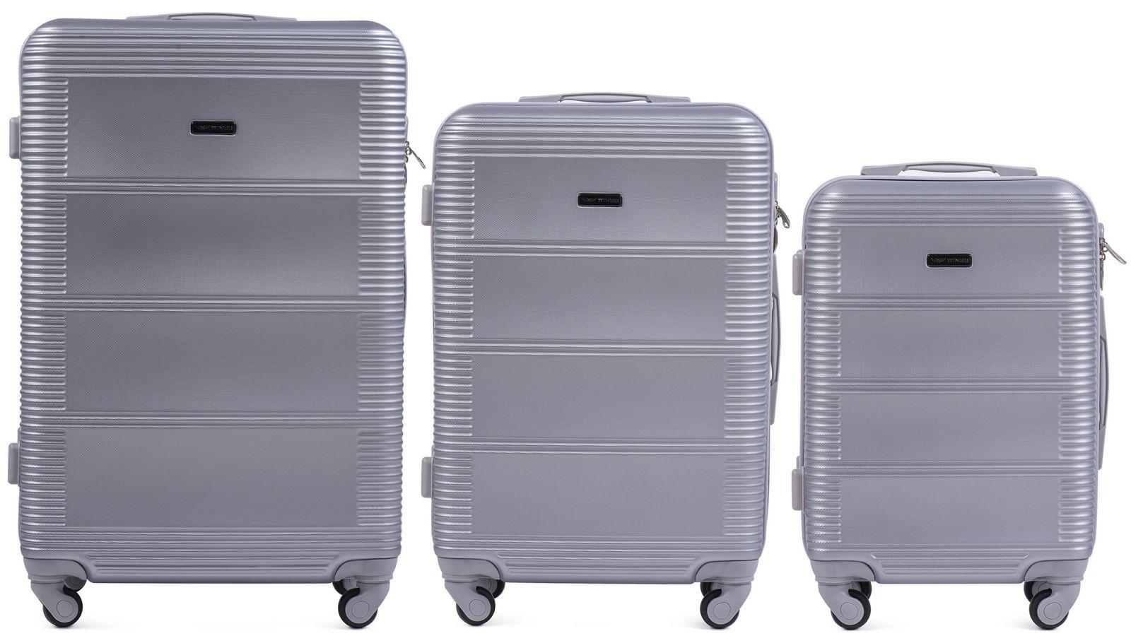 Cestovní kufry sada WINGS 203 ABS SILVER L,M,S