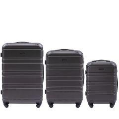 Cestovní kufry sada WINGS 608 ABS DARK GREY L,M,S