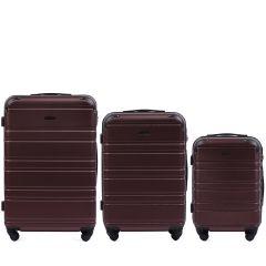 Cestovní kufry sada WINGS 608 ABS DARK RED L,M,S
