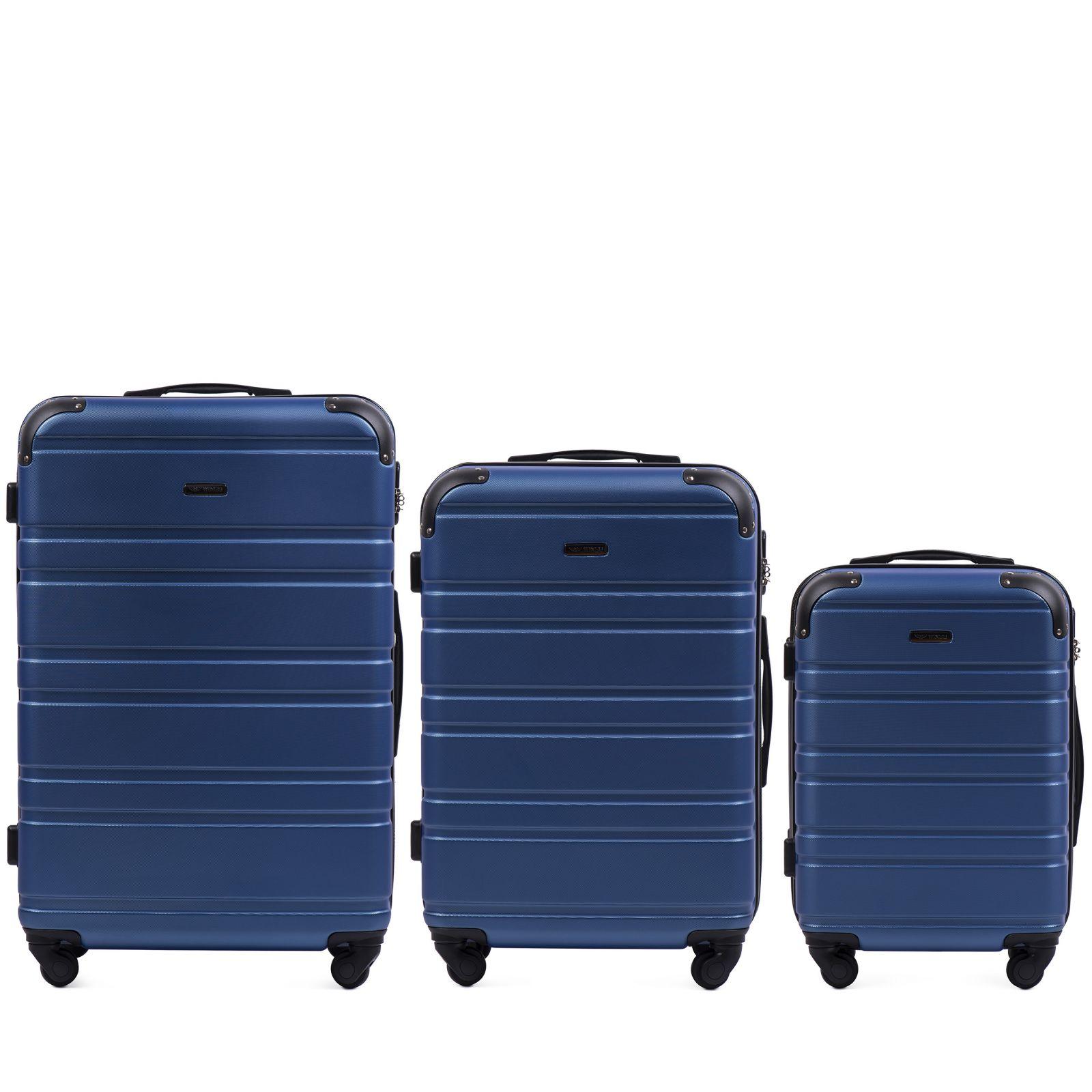 Cestovní kufry sada WINGS 608 ABS MIDDLE BLUE L,M,S E-batoh