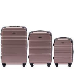 Cestovní kufry sada WINGS 608 ABS ROSE GOLD L,M,S