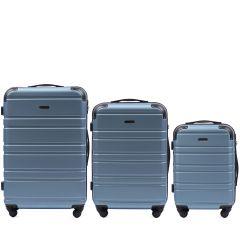 Cestovní kufry sada WINGS 608 ABS SILVER BLUE L,M,S