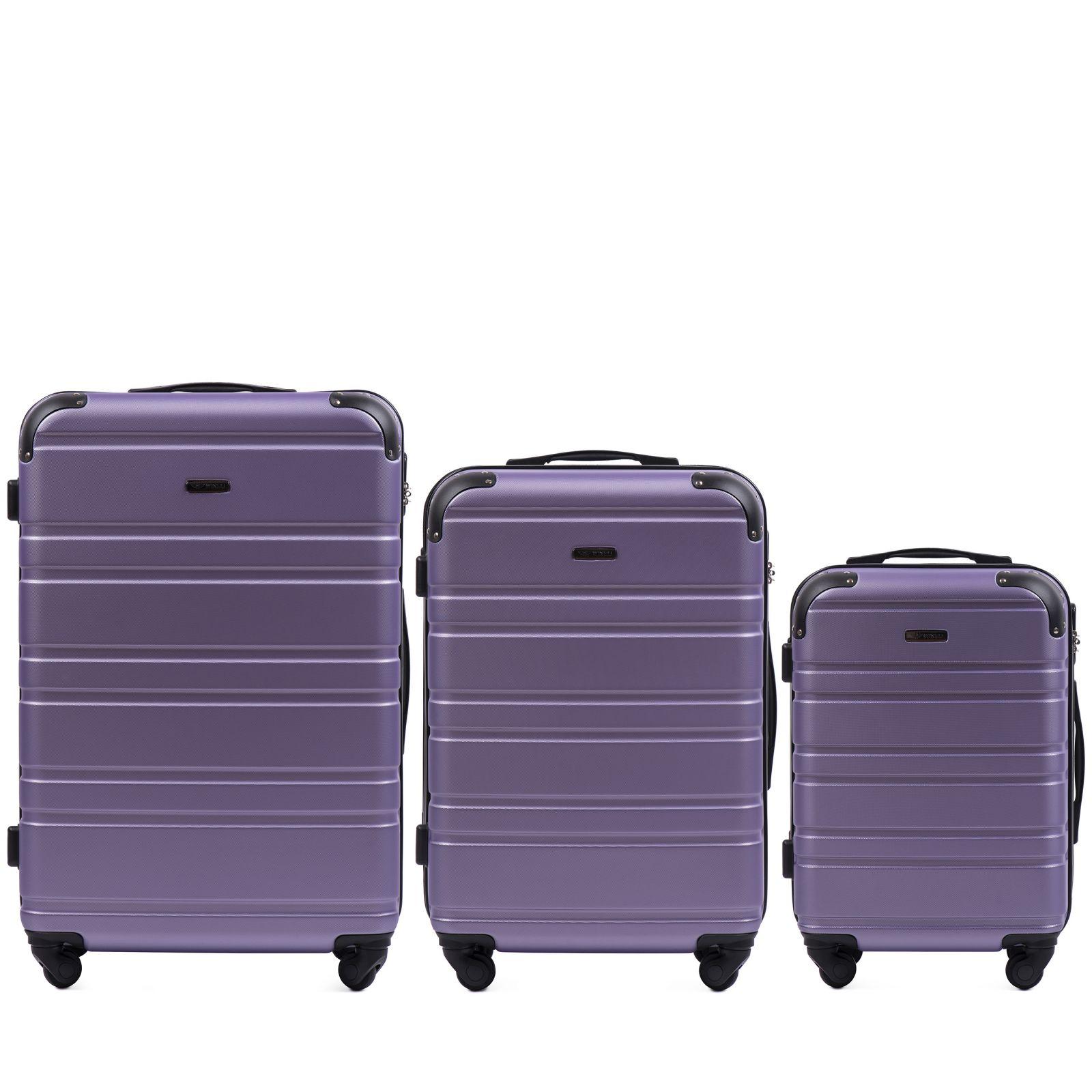 Cestovní kufry sada WINGS 608 ABS SILVER PURPLE L,M,S