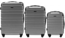 Cestovní kufry sada WINGS 608 ABS SILVER L,M,S