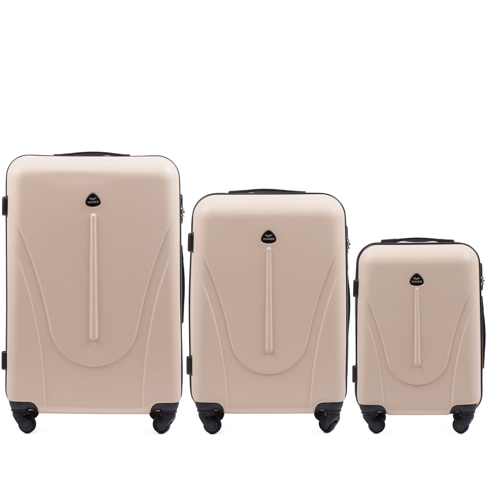 Cestovní kufry sada WINGS 888 ABS DIRTY WHITE L,M,S E-batoh