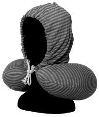 Cestovní krční polštářek s kapucí GREY