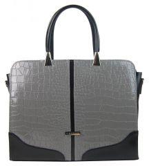 """Elegantní dámská aktovka / taška na notebook 15.6"""" šedá s krokodýlím vzorem ST03 GROSSO"""