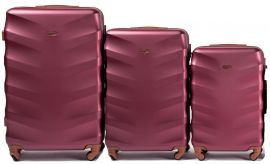 Cestovní kufry sada WINGS 402 ABS WINE RED L,M,S