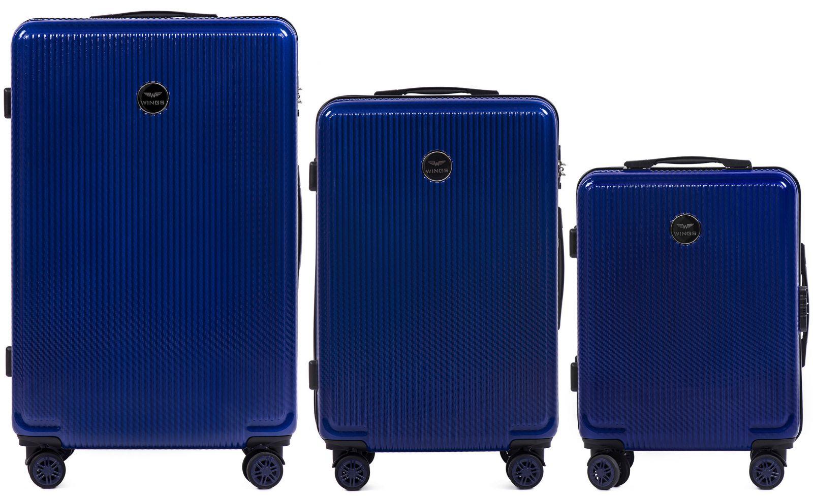 Cestovní kufry sada WINGS ABS- PC BLUE L,M,S