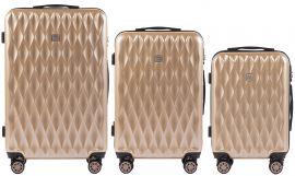 Cestovní kufry sada WINGS ABS- PC CHAMPAGNE L,M,S