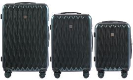 Cestovní kufry sada WINGS ABS- PC DARK GREEN L,M,S
