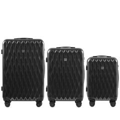 Cestovní kufry sada WINGS ABS- PC DARK GREY L,M,S E-batoh
