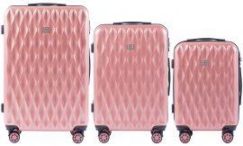 Cestovní kufry sada WINGS ABS- PC PINK L,M,S