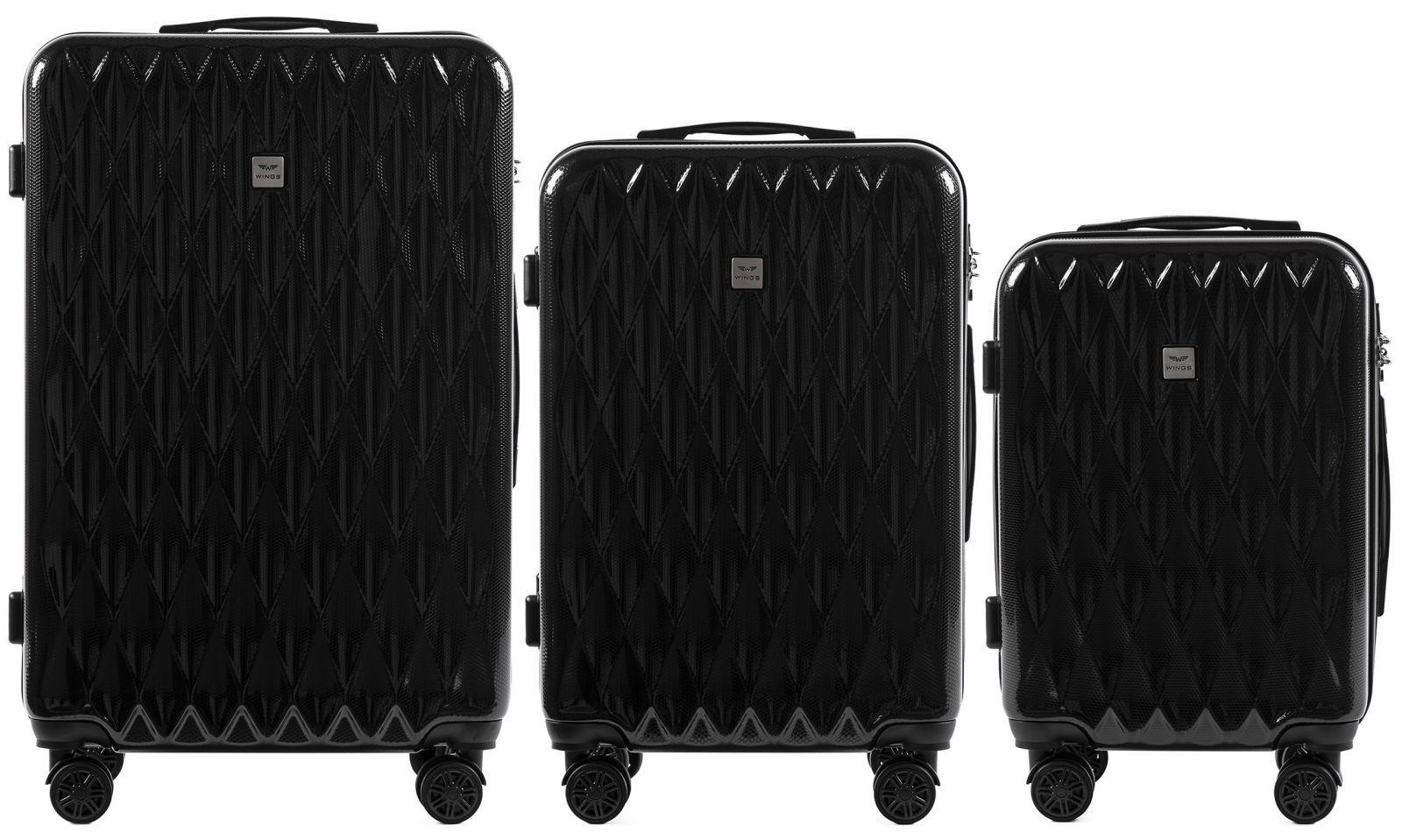 Cestovní kufry sada WINGS ABS- PC BLACK L,M,S