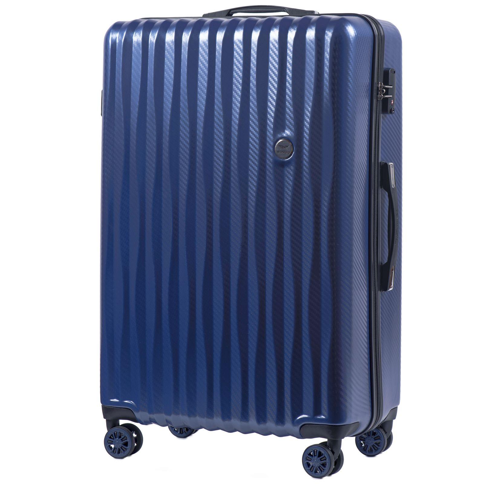 Cestovní kufr WINGS ABS POLIPROPYLEN BLUE velký L E-batoh