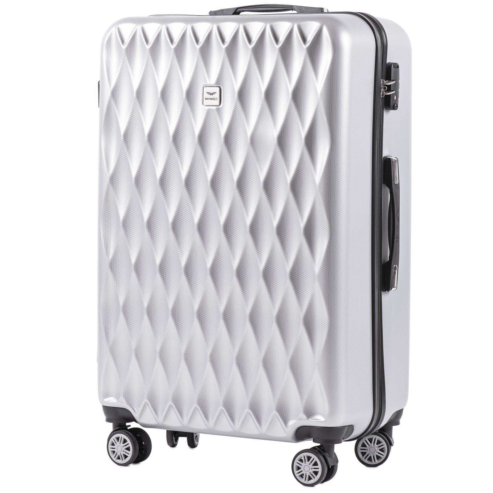 Cestovní kufr WINGS ABS POLIPROPYLEN SILVER velký L E-batoh