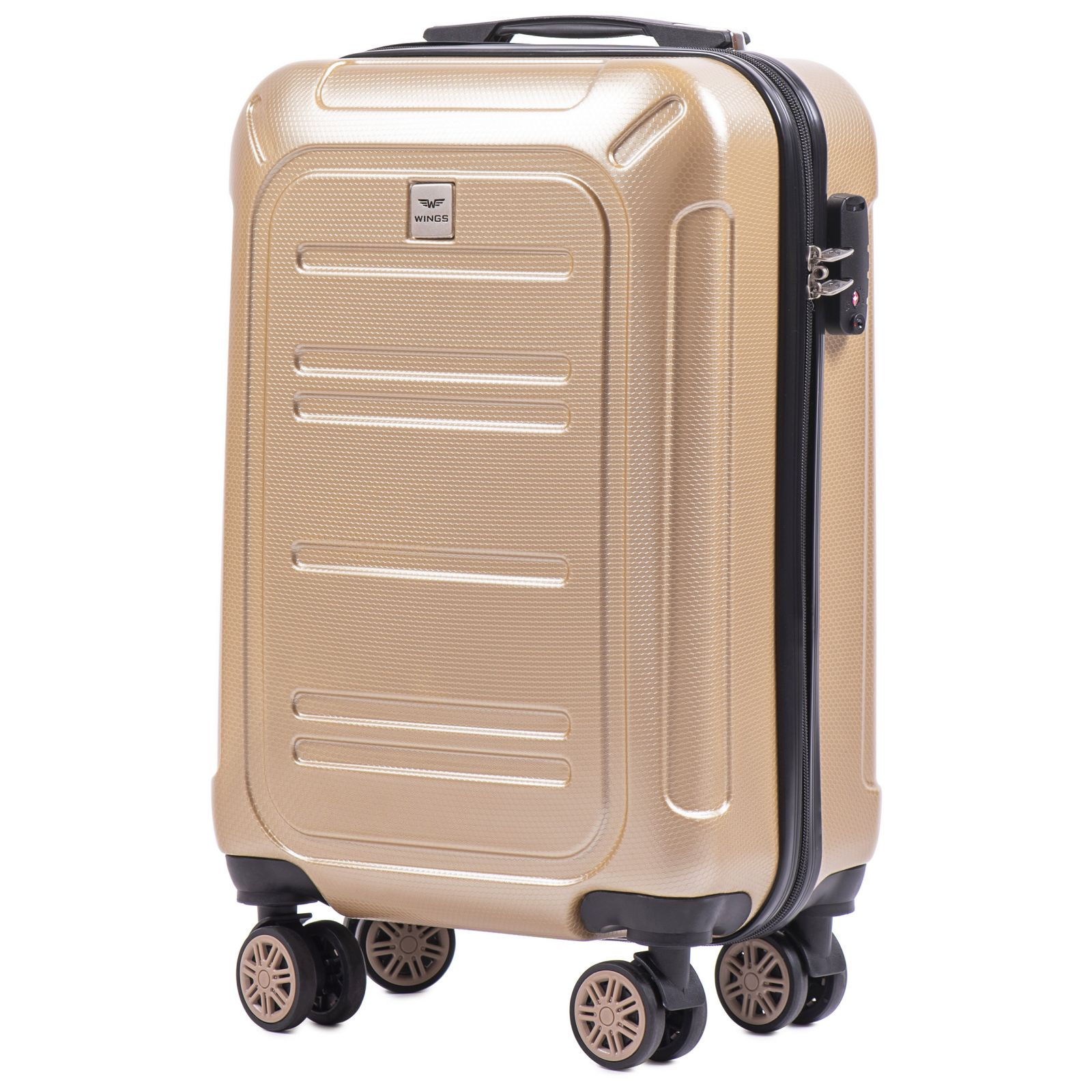 Cestovní kufr WINGS ABS POLIPROPYLEN CHAMPAGNE malý S E-batoh