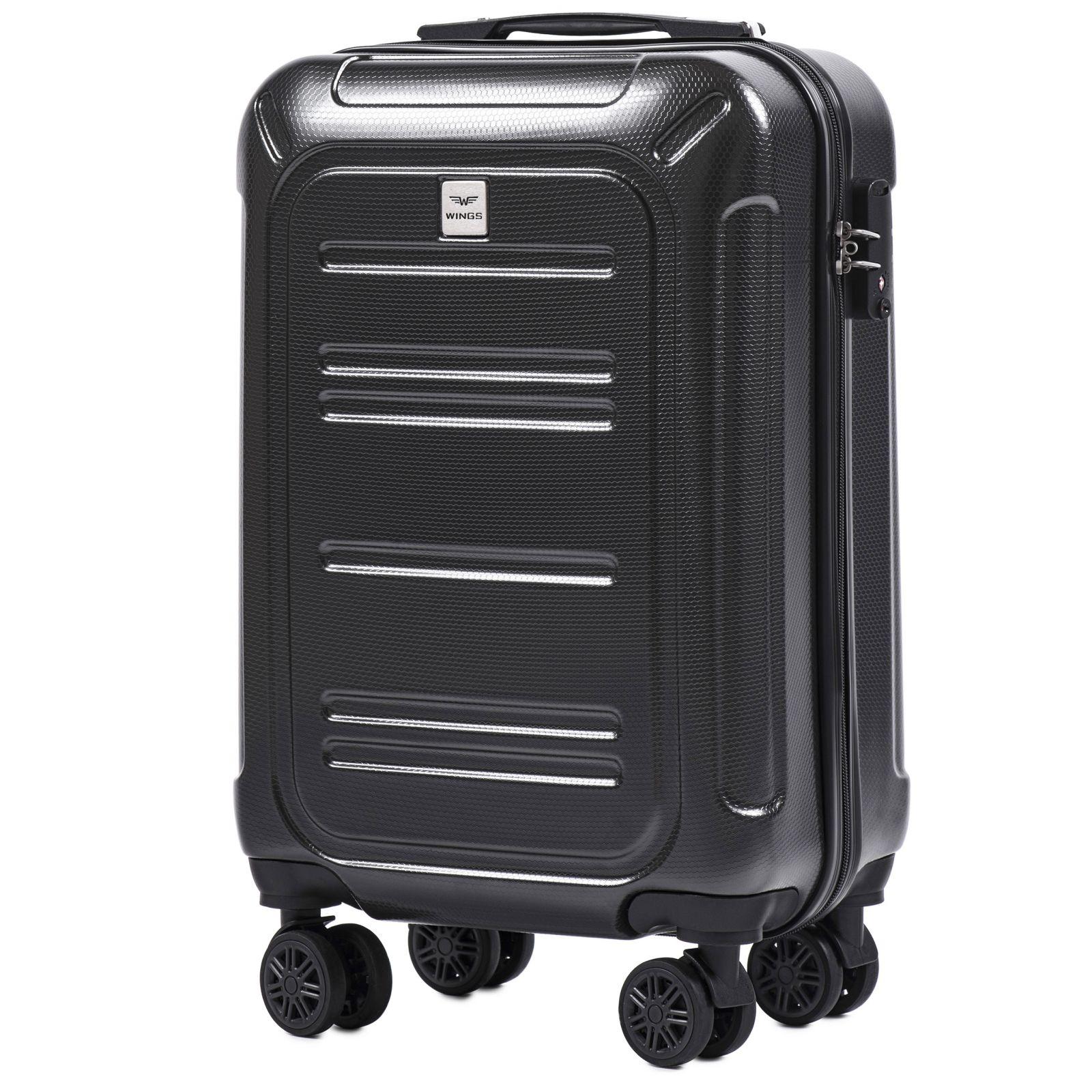 Cestovní kufr WINGS ABS POLIPROPYLEN DARK GREY malý S E-batoh