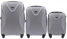 Cestovní kufry sada WINGS 518 ABS SILVER L,M,S