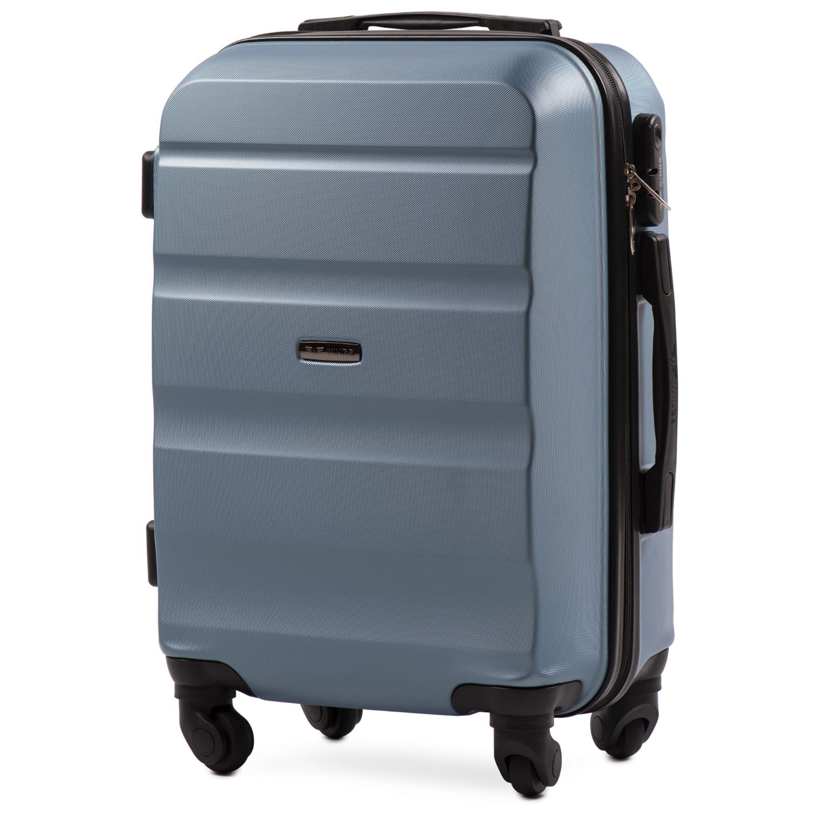 Cestovní kufr WINGS LOVEBIRD ABS SILVER BLUE malý xS E-batoh