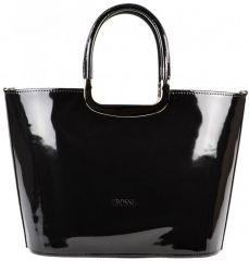 Luxusní kabelka černá lakovaná S7 stříbrné kování GROSSO E-batoh