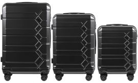 Cestovní kufry s TSA sada WINGS ABS- PC DARK GREY L,M,S