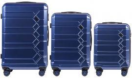 Cestovní kufry s TSA sada WINGS ABS- PC DARK BLUE L,M,S