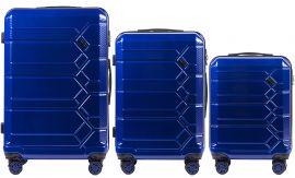 Cestovní kufry s TSA sada WINGS ABS- PC BLUE L,M,S