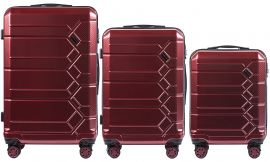 Cestovní kufry s TSA sada WINGS ABS- PC VINE RED L,M,S