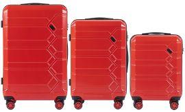 Cestovní kufry s TSA sada WINGS ABS- PC RED L,M,S