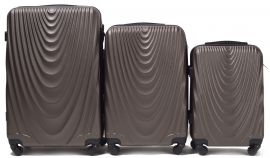 Cestovní kufry sada WINGS 304 ABS COFFE L,M,S