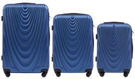 Cestovní kufry sada WINGS 304 ABS MIDDLE BLUE L,M,S
