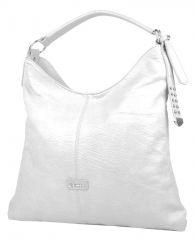 Moderní velká bílá kombinovaná dámská kabelka 3753-DE Demra E-batoh