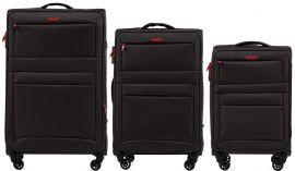 Sada 3 textilních kufrů WINGS 2861 COFFE L/M/S